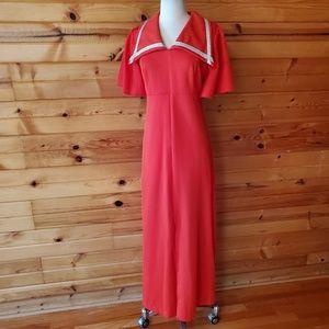 1970s Fortrel Red & Silver Trim Polyester Maxi Dre